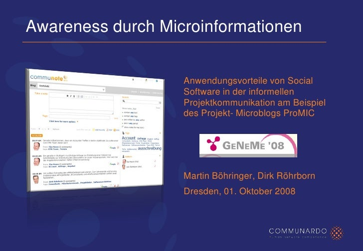 Awareness durch Microinformationen                      Anwendungsvorteile von Social                    Software in der i...