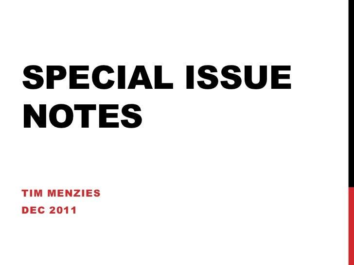 SPECIAL ISSUENOTESTIM MENZIESDEC 2011
