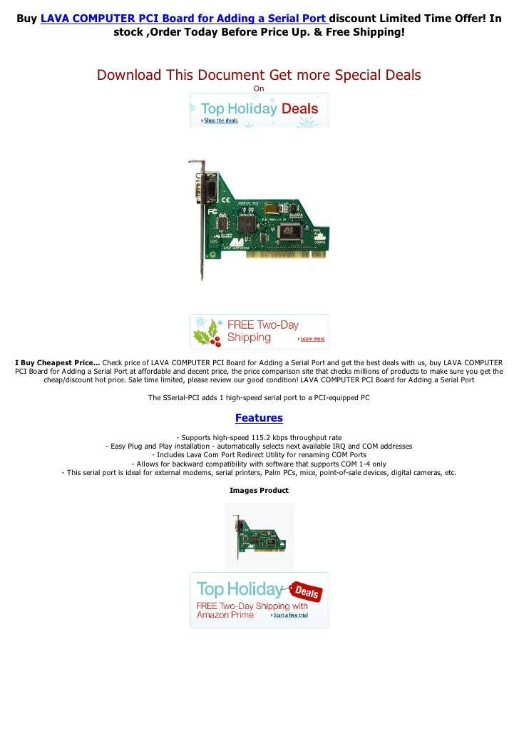 Buy LAVA COMPUTER PCI Board for Adding a Serial Port discount Limited Time Offer! In              stock ,Order Today Befor...