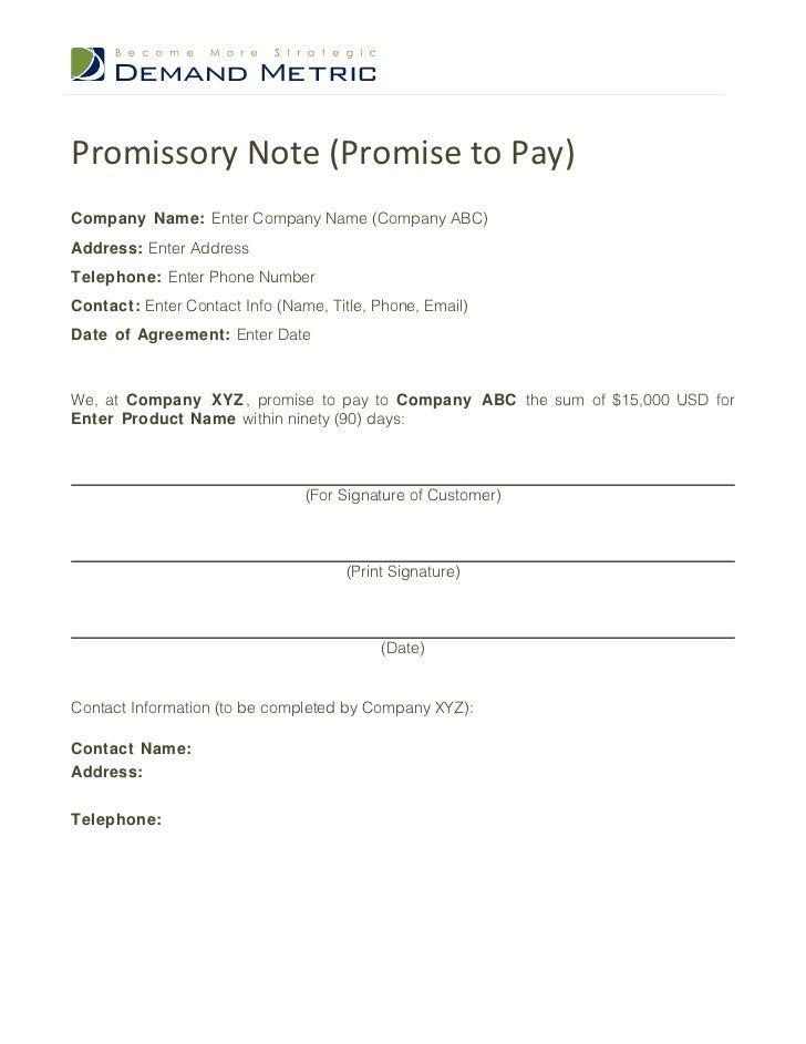 Promissory Note (Promise To Pay)Company Name: Enter Company Name (Company  ABC  Pay Template
