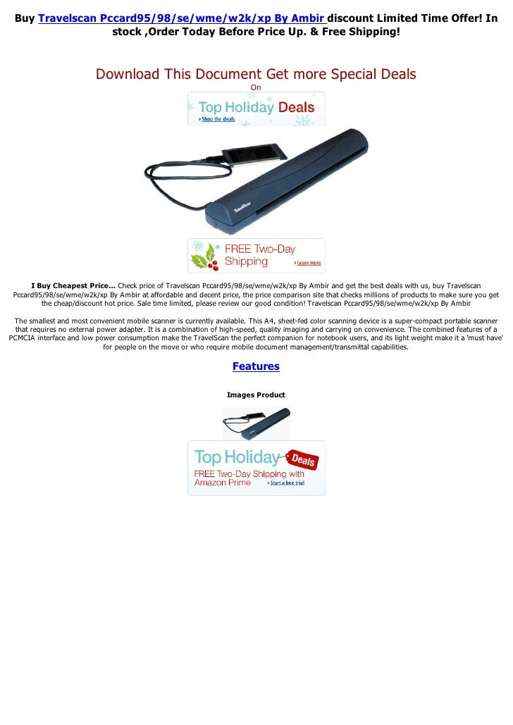 Buy Travelscan Pccard95/98/se/wme/w2k/xp By Ambir discount Limited Time Offer! In                  stock ,Order Today Befo...