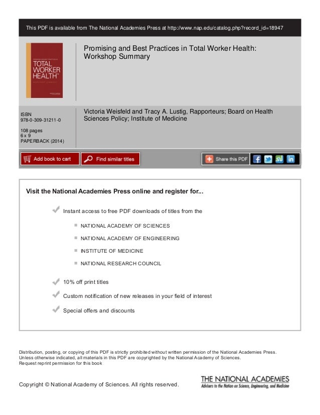 Visit the National Academies Press online and register for... Instant access to free PDF downloads of titles from the Dist...