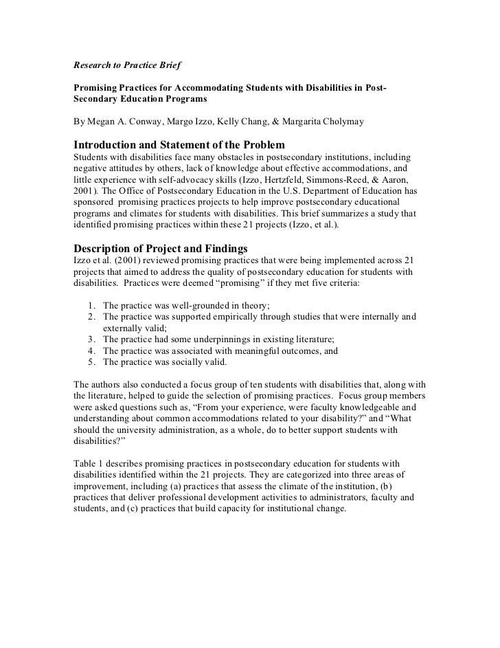Research to Practice BriefPromising Practices for Accommodating Students with Disabilities in Post-Secondary Education Pro...