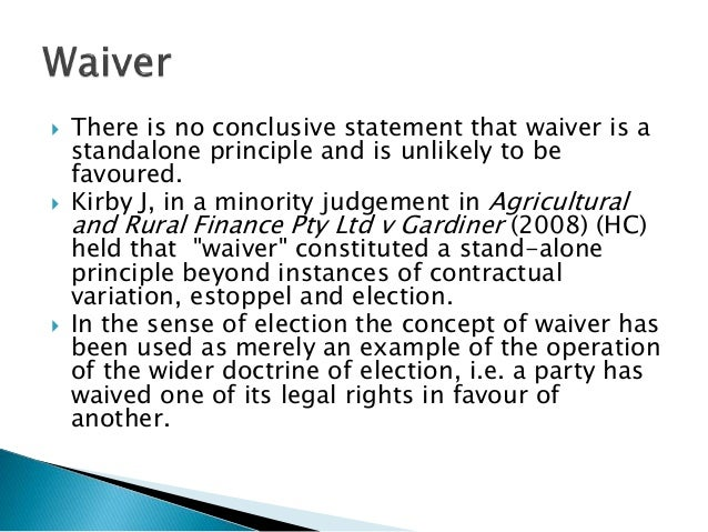 Promissory Estoppel, Waiver And Election Power Point (2)