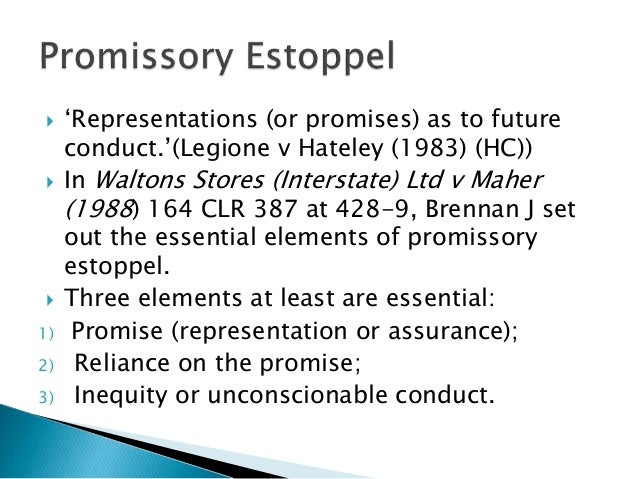 consideration and promissory estoppel relationship questions