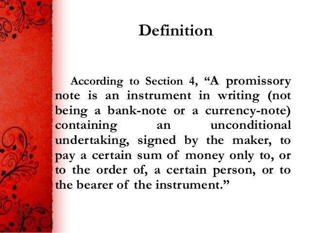 Promissory note ppt, negotiable instrument act.
