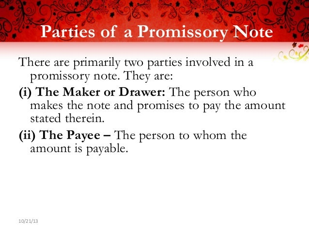 Promissory Note Ppt Negotiable Instrument Act