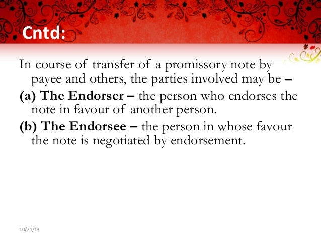Promissory note ppt negotiable instrument act – Promissory Note Parties