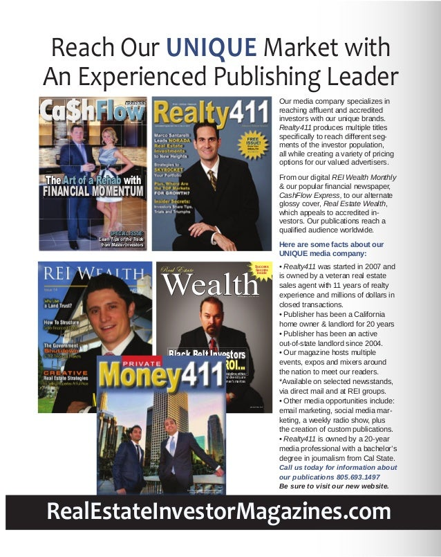 Reach Our UNIQUE Market with An Experienced Publishing Leader Ca$hFlow Our media company specializes in reaching affluent a...