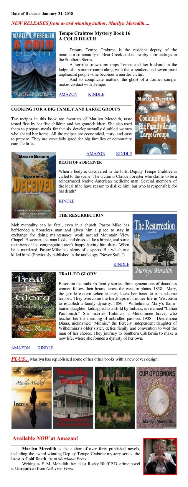 Date of Release: January 31, 2018 NEW RELEASES from award winning author, Marilyn Meredith.... Tempe Crabtree Mystery Book...