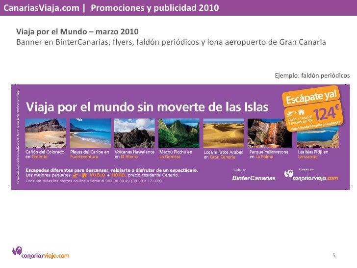 CanariasViaja.com    Promociones y publicidad 2010<br />Viaja por el Mundo – marzo 2010<br />Banner en BinterCanarias, fly...