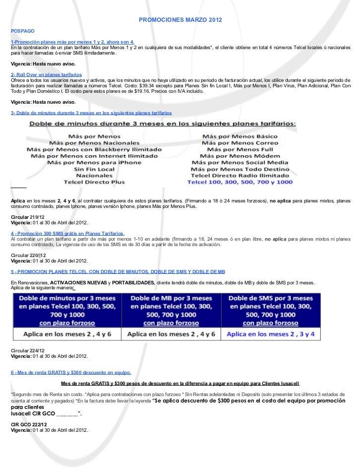 PROMOCIONES MARZO 2012POSPAGO1-Promoción planes más por menos 1 y 2, ahora son 4.En la contratación de un plan tarifario M...