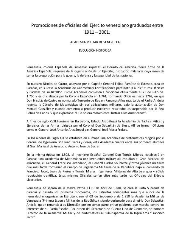 Promociones de oficiales del Ejército venezolano graduados entre 1911 – 2001. ACADEMIA MILITAR DE VENEZUELA EVOLUCIÓN HIST...