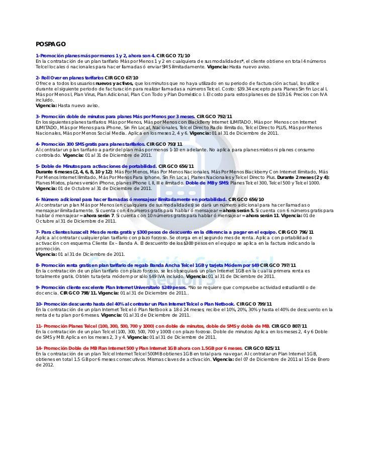 POSPAGO1-Promoción planes más por menos 1 y 2, ahora son 4. CIR GCO 71/10En la contratación de un plan tarifario Más por M...