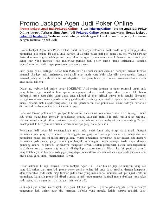 Promo Jackpot Agen Judi Poker Online