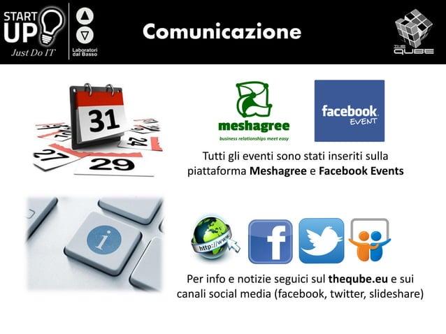 Comunicazione Tutti gli eventi sono stati inseriti sulla piattaforma Meshagree e Facebook Events Per info e notizie seguic...