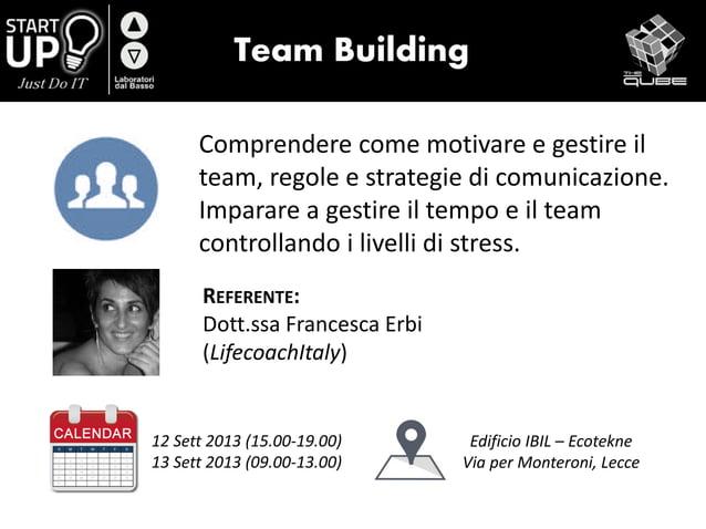 Team Building Comprendere come motivare e gestire il team, regole e strategie di comunicazione. Imparare a gestire il temp...