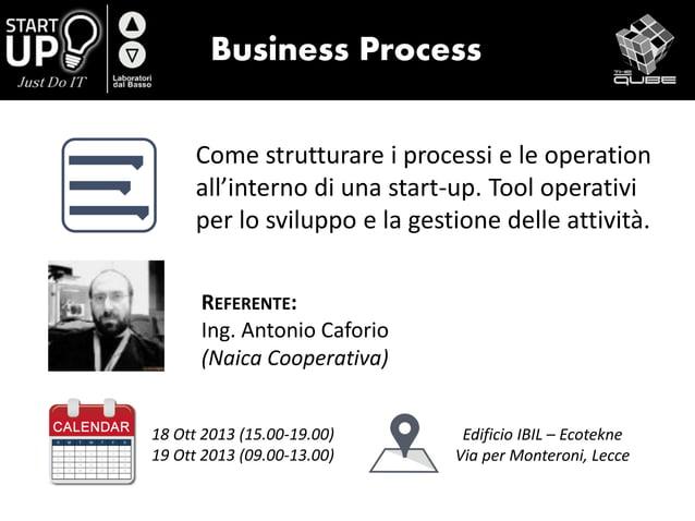 Business Process Come strutturare i processi e le operation all'interno di una start-up. Tool operativi per lo sviluppo e ...