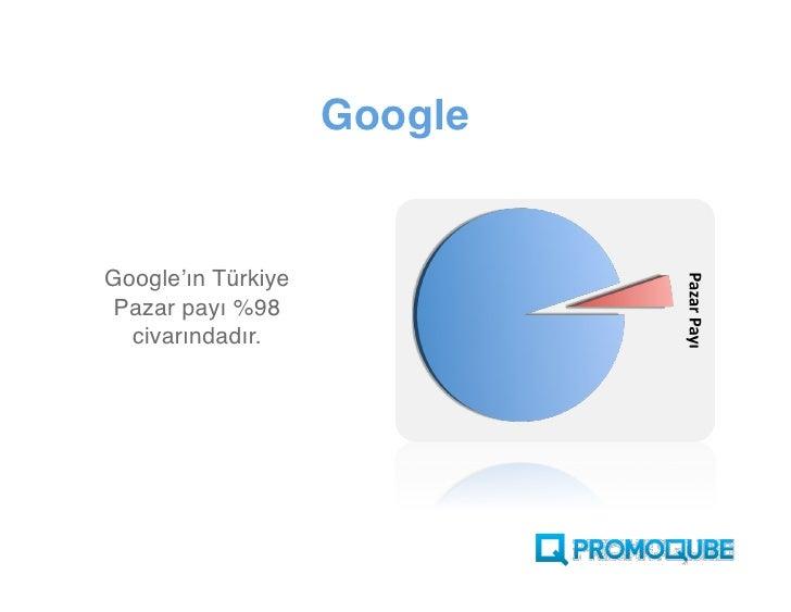 Google   Google'ın Türkiye  Pazar payı %98   civarındadır.
