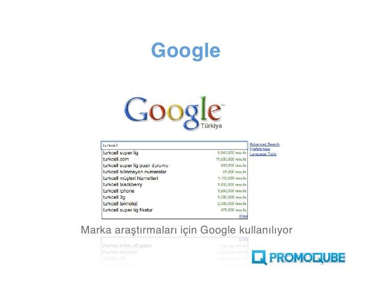 Google     Marka araştırmaları için Google kullanılıyor