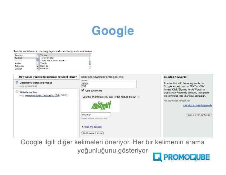 Google          Google ilgili diğer kelimeleri öneriyor. Her bir kelimenin arama yoğunluğunu gösteriyor