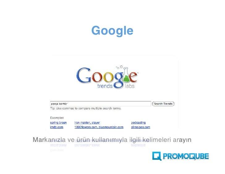 Google     Markanızla ve ürün kullanımıyla ilgili kelimeleri arayın