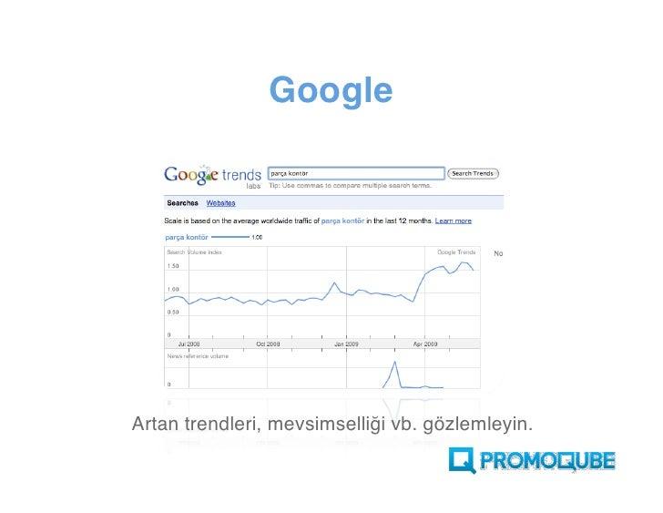 Google     Artan trendleri, mevsimselliği vb. gözlemleyin.