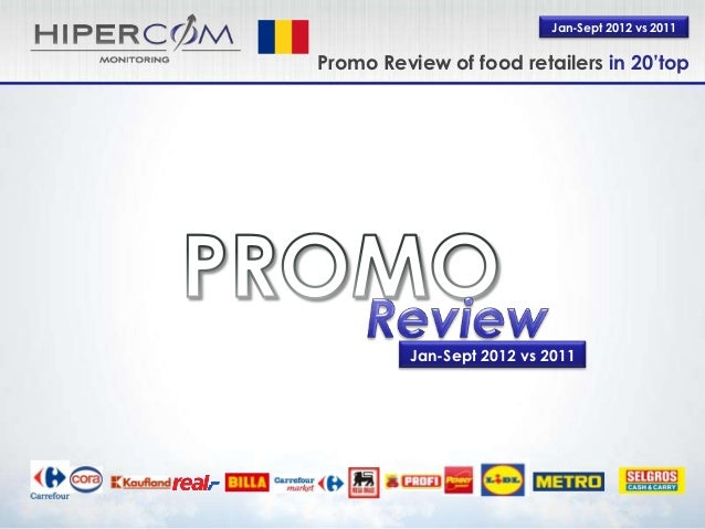 Jan-Sept 2012 vs 2011Promo Review of food retailers in 20'top         Jan-Sept 2012 vs 2011