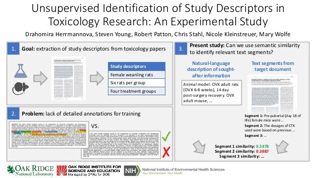 Unsupervised Identification of Study Descriptors in Toxicology Research: An Experimental Study Drahomira Herrmannova, Stev...