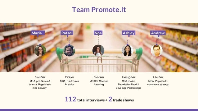 Team Promote.It . 112 total interviews + 2trade shows Maria Rafael Noa Ashley Andrew Hustler MBA, pre-Series A team at Rap...