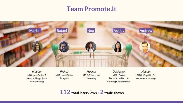 Team Promote.It . 112 total interviews + 2trade shows Maria Rafael Noa Ashley Andrew Hustler MBA, pre-Series A team at Rap...