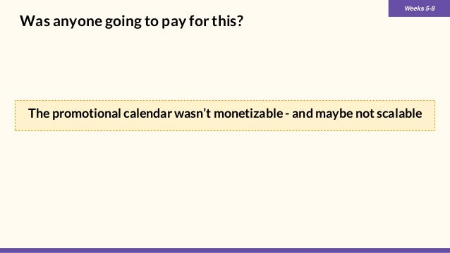 Was anyone going to pay for this? Weeks 5-8 The promotional calendar wasn't monetizable - and maybe not scalable