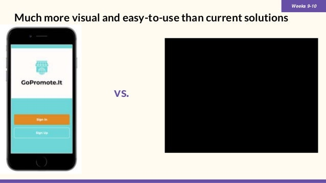 Much more visual and easy-to-use than current solutions Weeks 9-10 vs.