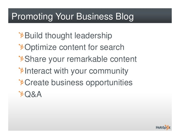 How to Promote Your Business Blog With HubSpot Slide 2