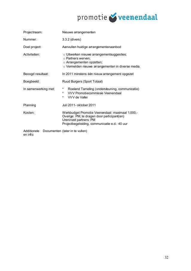 Projectnaam: Nieuwe arrangementen Nummer: 3.3.2 (divers) Doel project: Aanvullen huidige arrangementenaanbod Activiteiten:...
