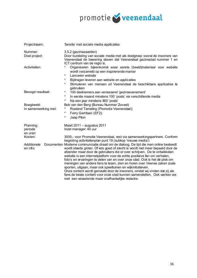 Projectnaam: 'fansite' met sociale media applicaties Nummer: 3.5.2 (gezinswaarden) Doel project: Door bundeling van social...