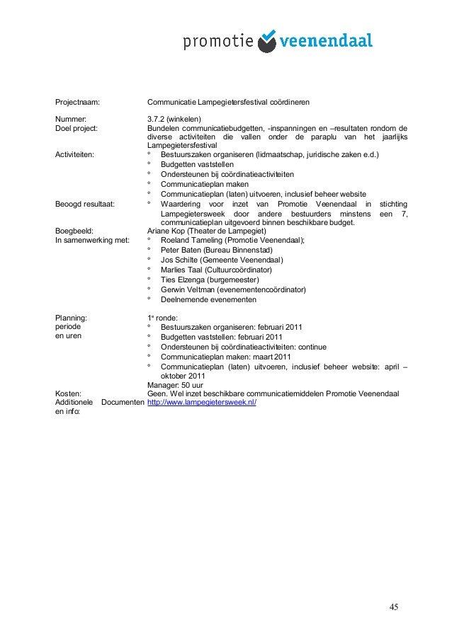 Projectnaam: Communicatie Lampegietersfestival coördineren Nummer: 3.7.2 (winkelen) Doel project: Bundelen communicatiebud...