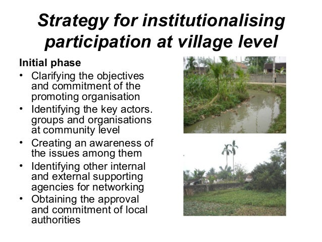 participatory watershed management T michaelsen tage michaelsen is forest conservation officer, fao forestry department people's participation is gradually being recognized by government agencies as an essential component in the implementation of watershed management efforts in inhabited upland areas the policy prevailing 30 to 40 years ago of.