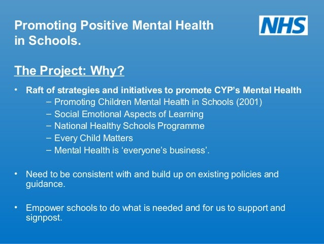 promoting children's health and wellbeing We're supporting children and young people's mental health young people's mental health  we have identified six priorities that promote positive well-being for children and can make a real difference to their lives read the full report, promoting positive well-being for children.