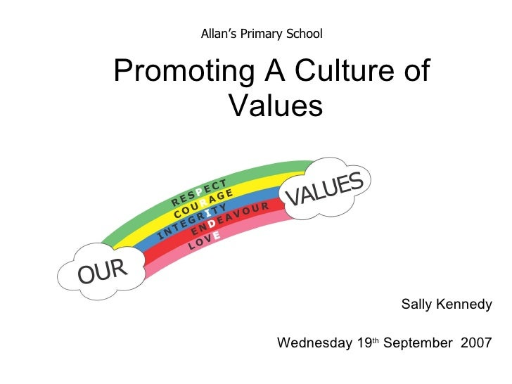 Promoting A Culture of  Values Sally Kennedy Wednesday 19 th  September  2007 Allan's Primary School