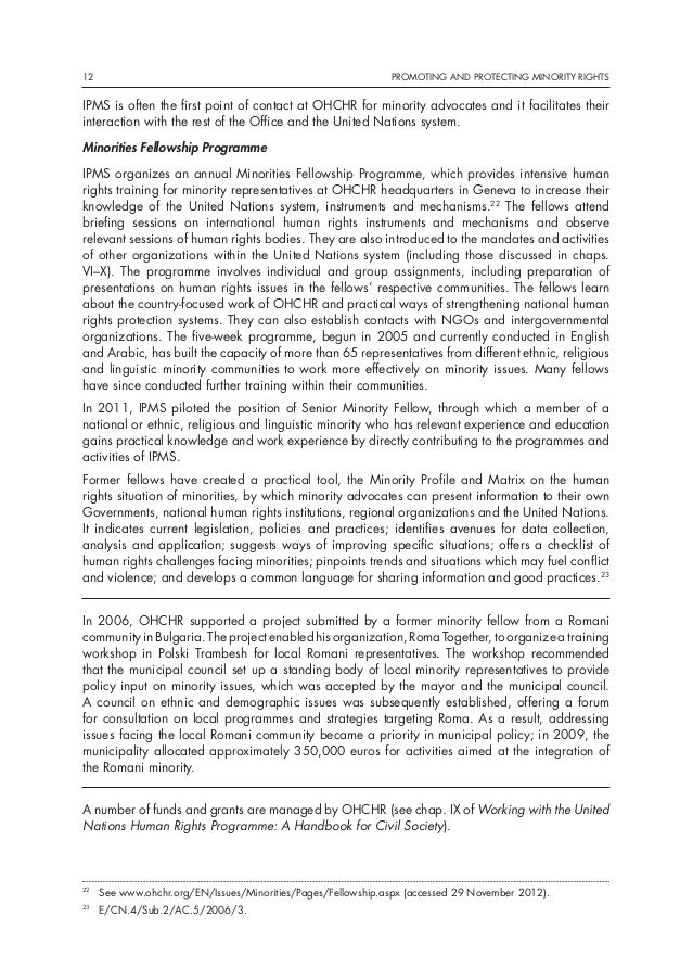 promoting and protecting minority rights essay This essay has been submitted by a law student this is not an example of the work written by our professional essay writers human rights and international law.