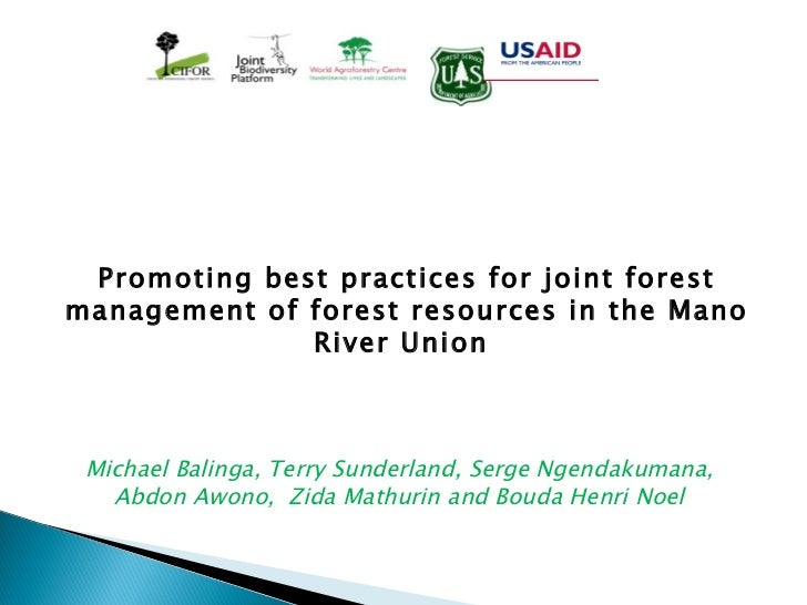 Forest Resource Management : Promoting best practices for joint forest management of