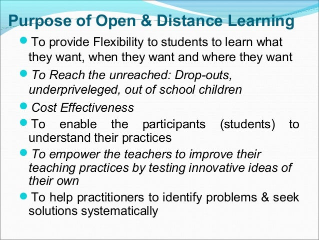 effectiveness of open and distance education Contact sessions: their role in open distance  since it started providing distance education in the late 1940s  there are studies on the effectiveness of.