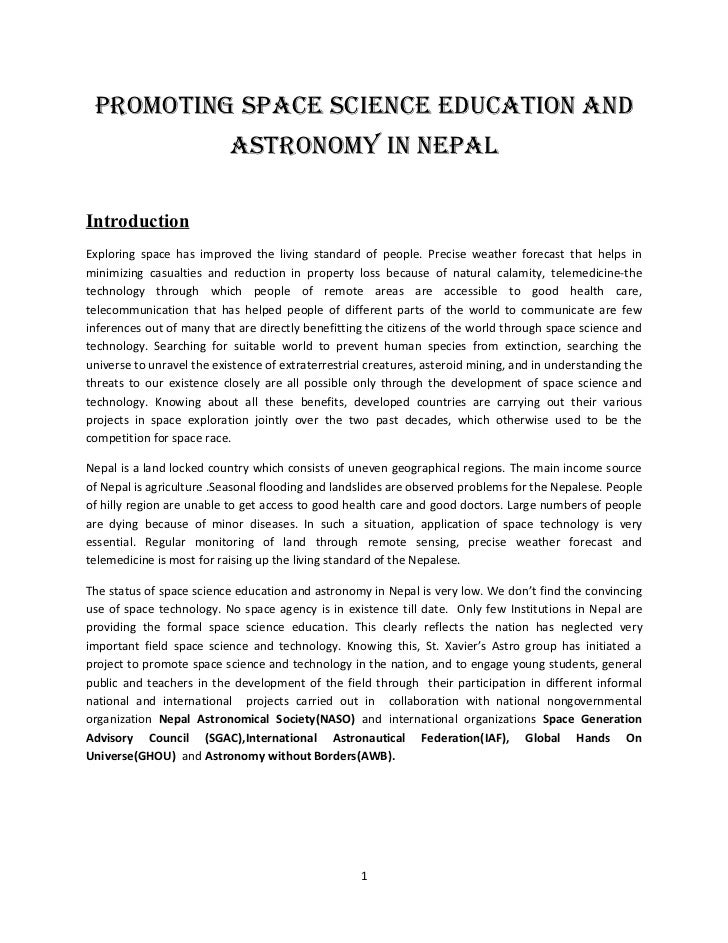 Promoting sPace science education and                           astronomy in nePalIntroductionExploring space has improved...