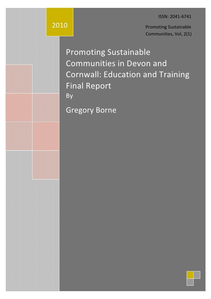 ISSN: 2041-67412010                   Promoting Sustainable                       Communities, Vol, 2(1)   Promoting Susta...