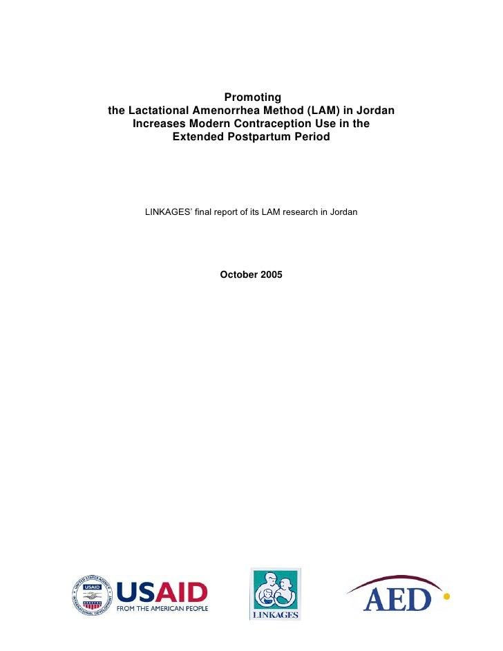 Promoting the Lactational Amenorrhea Method (LAM) in Jordan      Increases Modern Contraception Use in the             Ext...