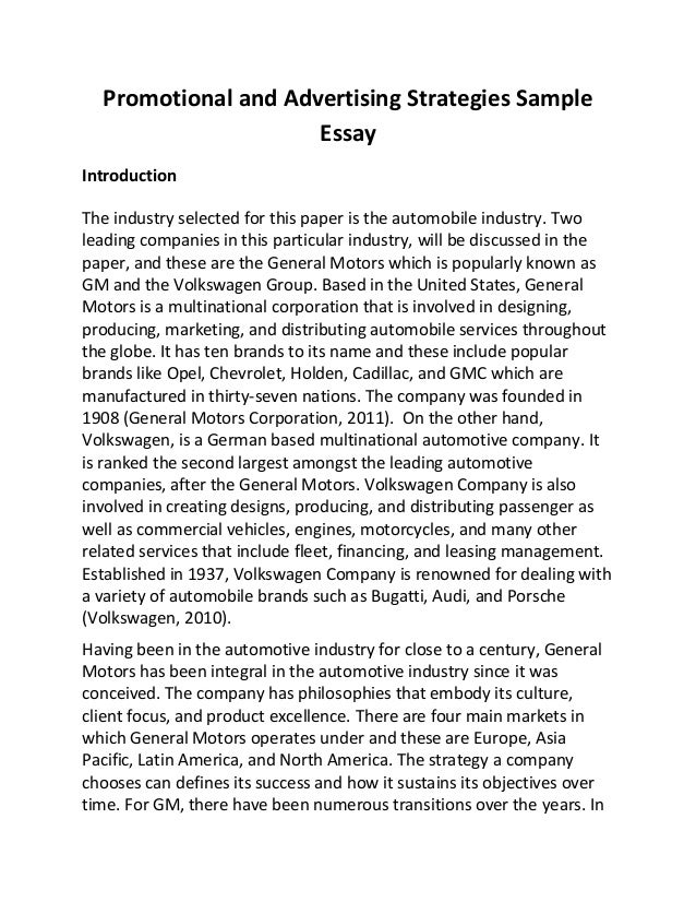 promotional and advertising strategies sample essay promotional and advertising strategies sample essay introduction the industry selected for this paper is the automobile