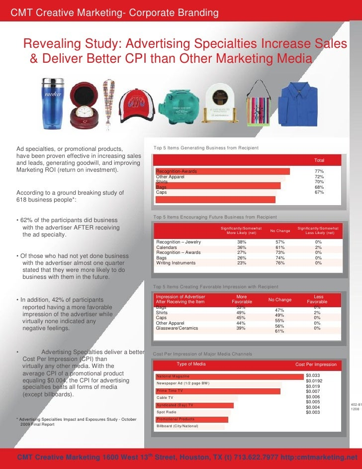 CMT Creative Marketing- Corporate Branding        Revealing Study: Advertising Specialties Increase Sales       & Deliver ...
