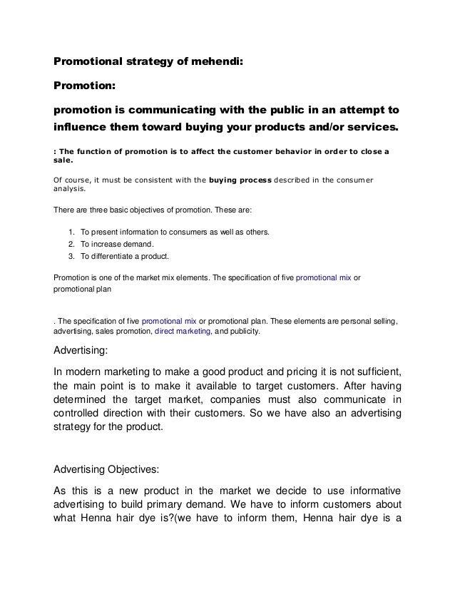 promotional strategy of mehendi