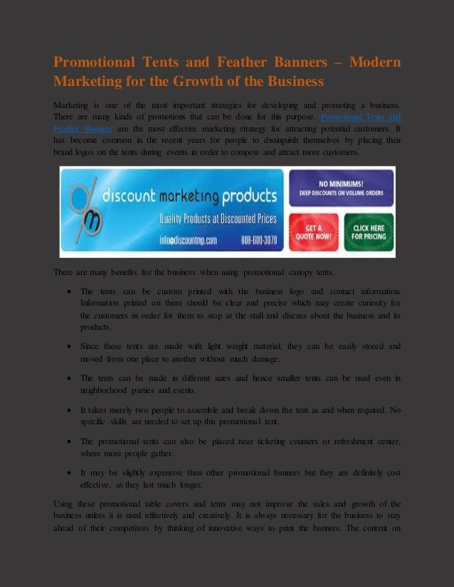 Promotional tents and feather banners – modern marketing for the grow…